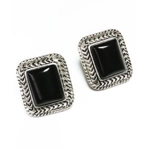 Vintage Roman Brand Silver & Onyx Tone Earrings